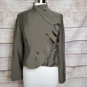 Free People Military Ruffle Button Crop Jacket S 4